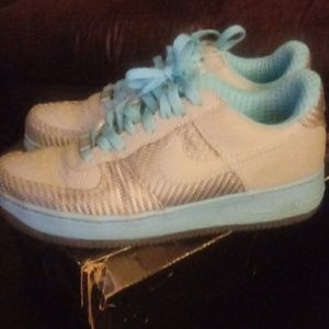 Nike Air Force 1 Premium-Grey/Baby Blue Size 7